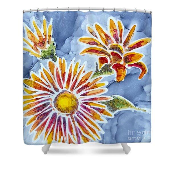 Denim Asters Shower Curtain