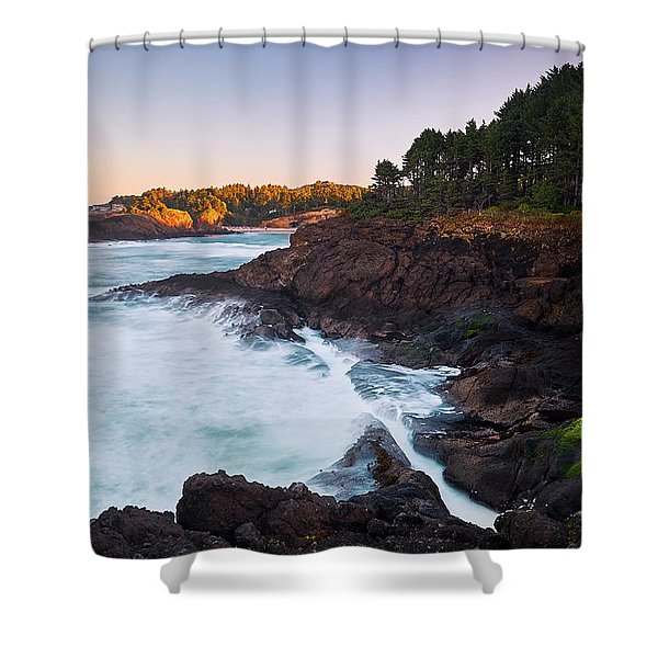 Shower Curtain featuring the photograph Depoe Bay Sunrise by Whitney Goodey