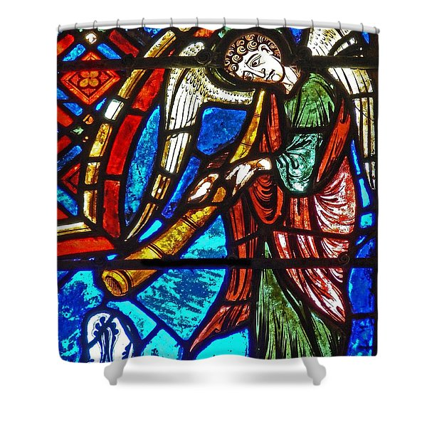 Detail From A Window Depicting The Last Judgement, Stained Glass Shower Curtain