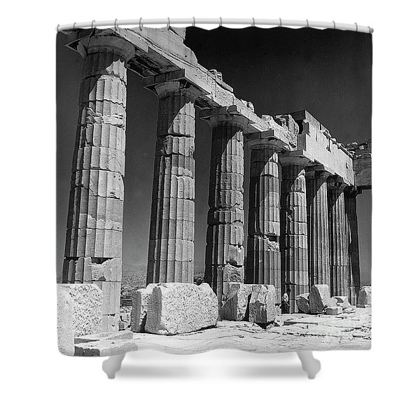 Detail Of The Colonnade Of The Parthenon, Acropolis, Athens Shower Curtain