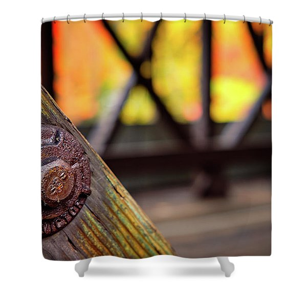 Shower Curtain featuring the photograph Details On A Covered Bridge by Jeff Sinon