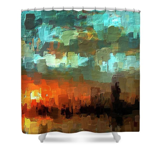 Detroit Days End Shower Curtain