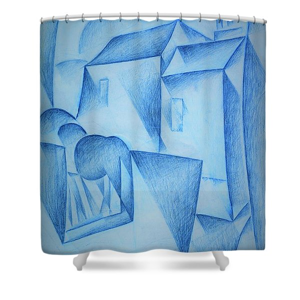 Digital Remastered Edition - Houses In Paris, Place Ravignan - Original Blue Shower Curtain