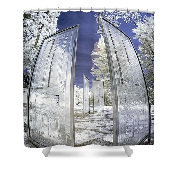 Dimensional Doors Shower Curtain