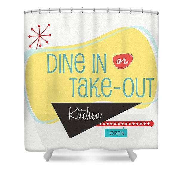 Dine In Kitchen - Art By Linda Woods Shower Curtain