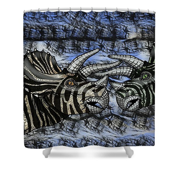 Dinosaur Triceratops Head On Battle Shower Curtain