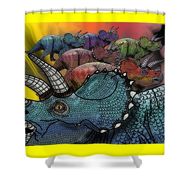 Dinosaur Triceratops Herd Shower Curtain