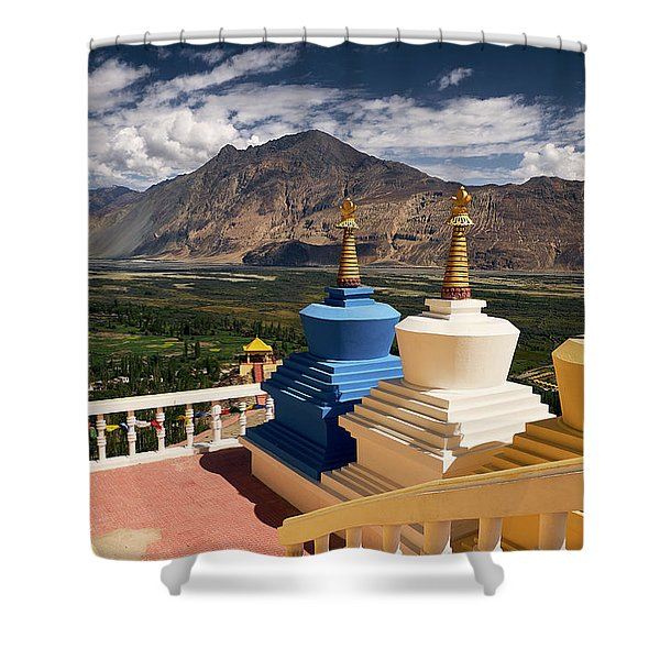 Shower Curtain featuring the photograph Diskit Gompa by Whitney Goodey