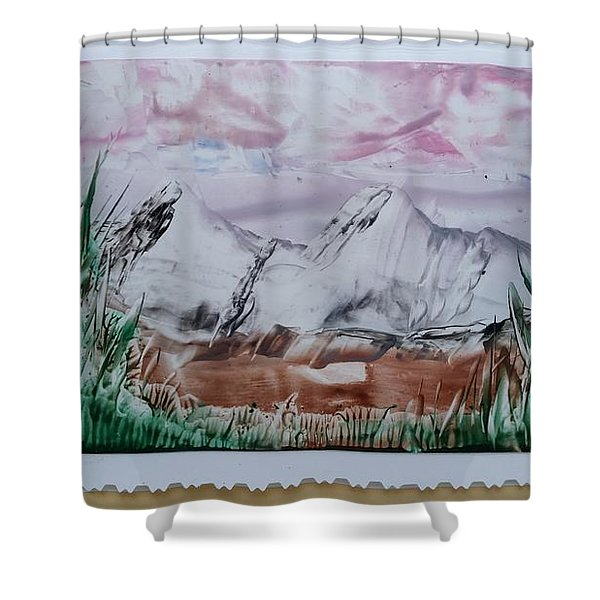 Distant Impressionistic Mountains Shower Curtain