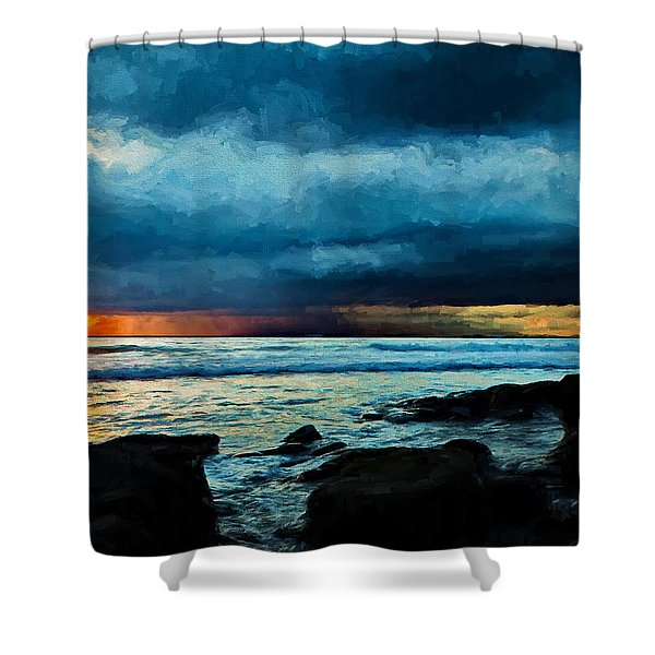 Distant Rain Clouds Shower Curtain