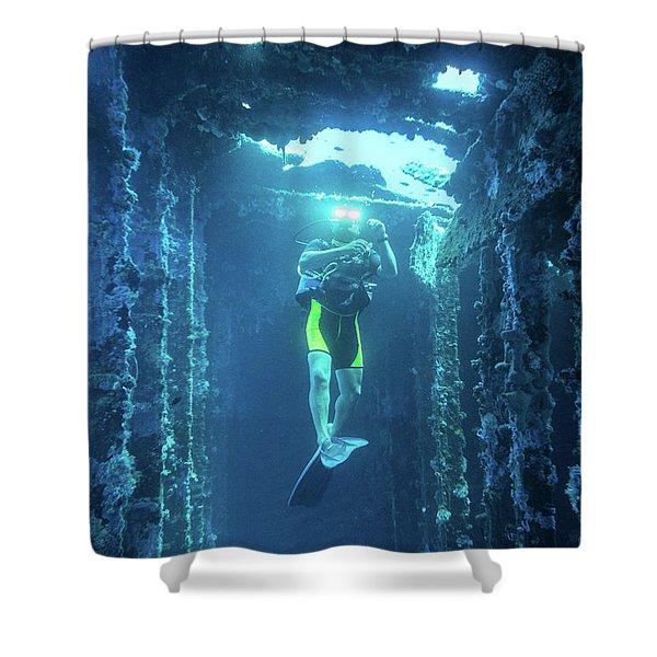 Shower Curtain featuring the photograph Diver In The Patris Shipwreck by Milan Ljubisavljevic