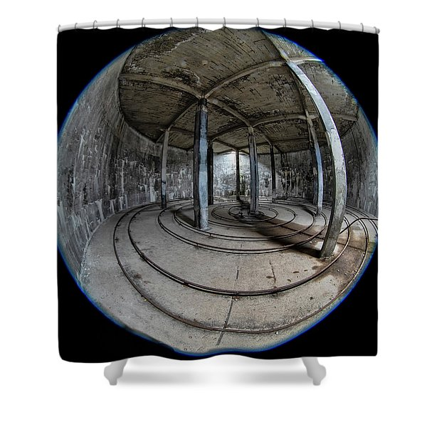 Shower Curtain featuring the photograph Djupavik Cannery Herring Oil Tank by Tom Singleton