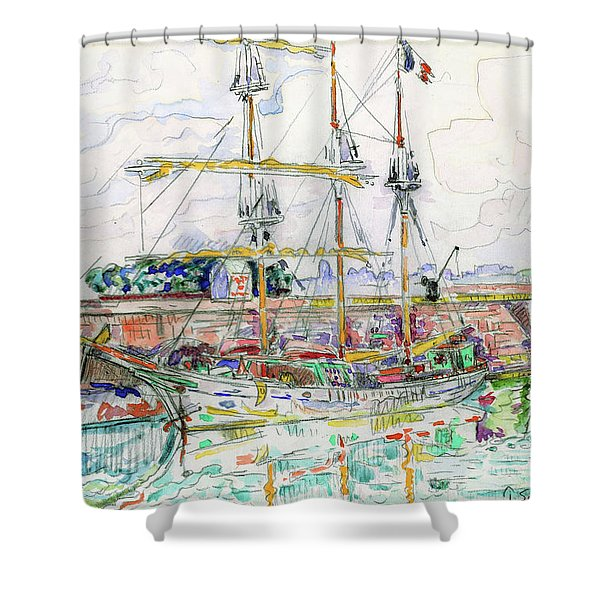 Docks At Saint Malo - Digital Remastered Edition Shower Curtain