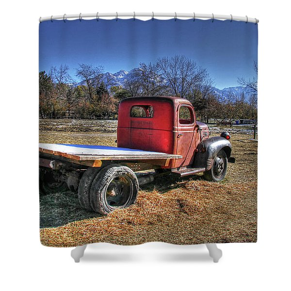 Dodge Flat Bed Truck On Farm Shower Curtain