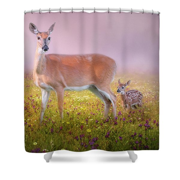 Doe And Fawn Square Shower Curtain
