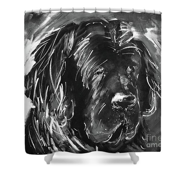 Dog Black And White  Shower Curtain