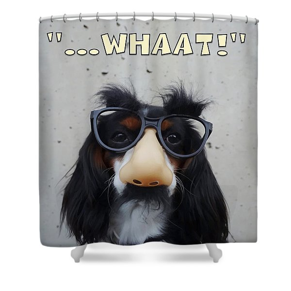 Shower Curtain featuring the digital art Dog Gone Funny by ISAW Company