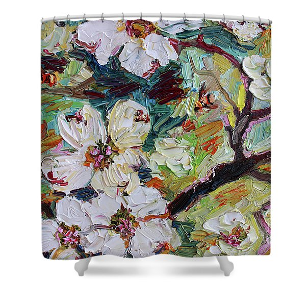Dogwood Blossoms Oil Painting  Shower Curtain