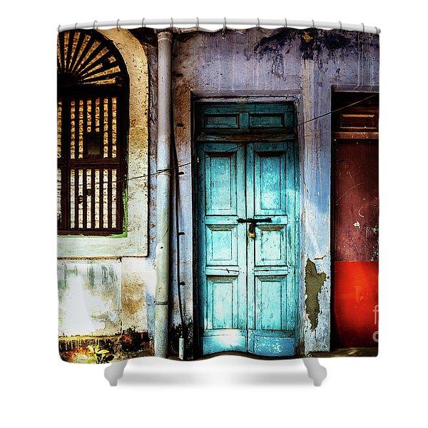 Doors Of India - Blue Door And Red Door Shower Curtain