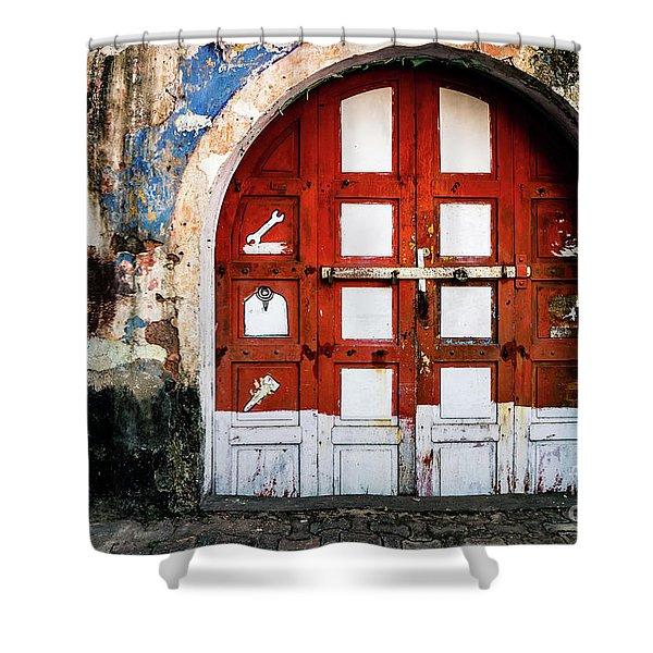 Doors Of India - Garage Door Shower Curtain