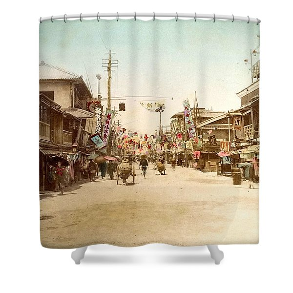 Dotonbori Osaka Handcolored Japanese Albumen Print From A Tourists Album Of The Early 20th Century  Shower Curtain