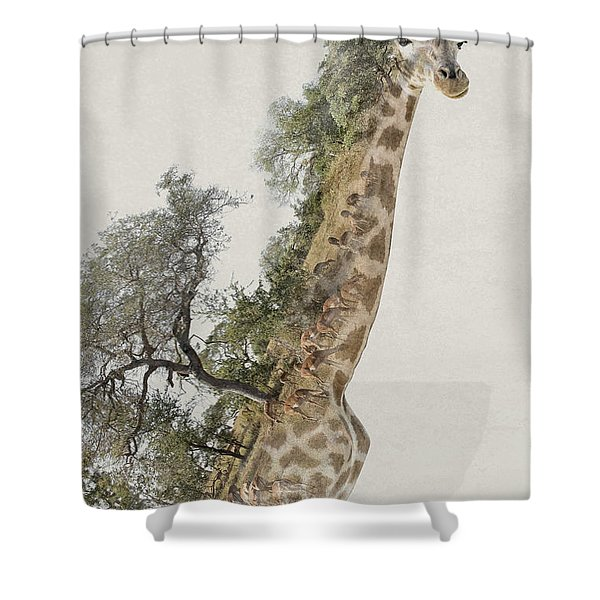 Double Exposure Giraffe Shower Curtain