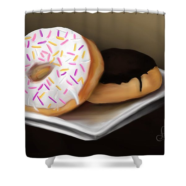 Shower Curtain featuring the painting Doughnut Life by Fe Jones