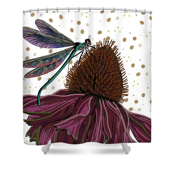 Dragon Fly And Echinacea Flower Shower Curtain