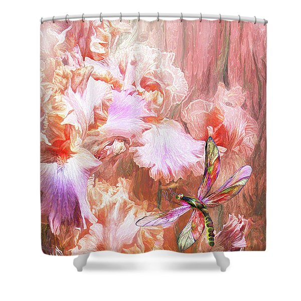 Dragonfly And Iris Shower Curtain