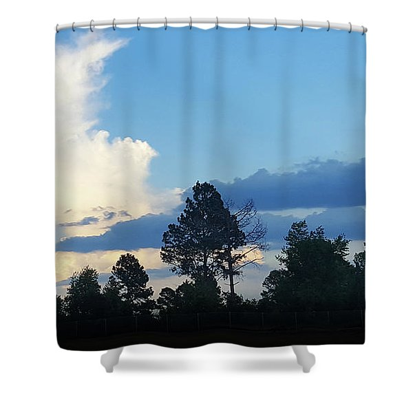 Dramatic Blue And White Clouds  Shower Curtain