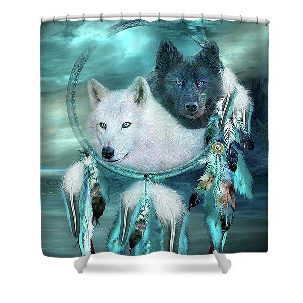 Dream Catcher - White Wolf Black Wolf Shower Curtain