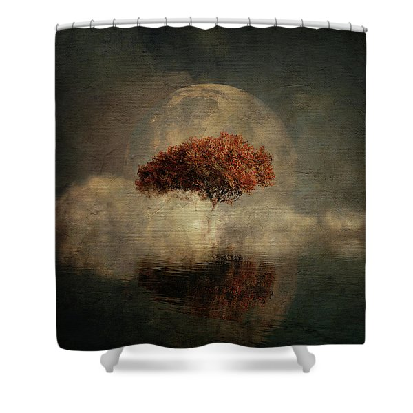 Shower Curtain featuring the digital art Dream Landscape With Full Moon by Jan Keteleer