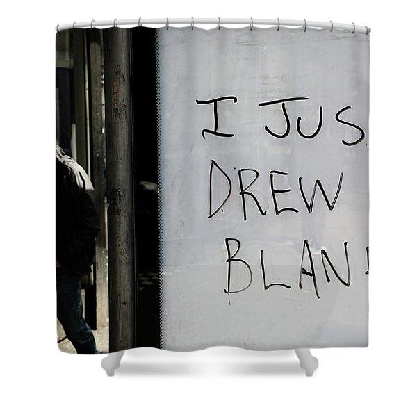Drew A Blank  Shower Curtain