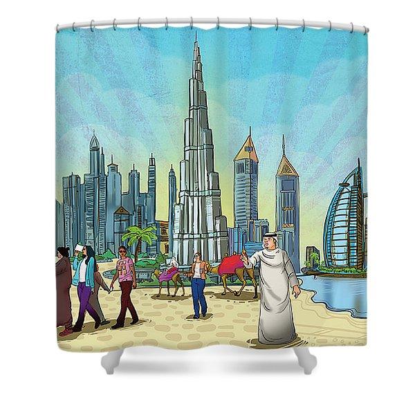 Dubai Illustration  Shower Curtain