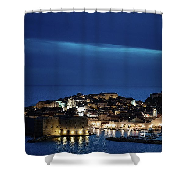Shower Curtain featuring the photograph Dubrovnik Old Town At Night by Milan Ljubisavljevic
