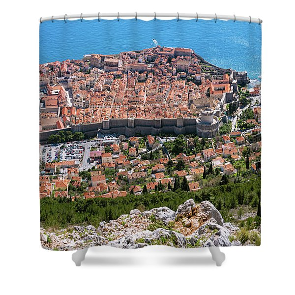 Shower Curtain featuring the photograph Dubrovnik Panorama From The Hill by Milan Ljubisavljevic