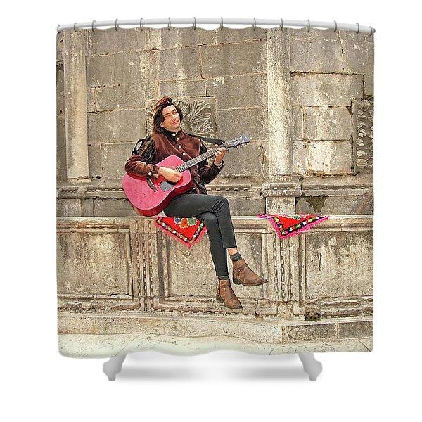 Dubrovnik Street Musician Shower Curtain