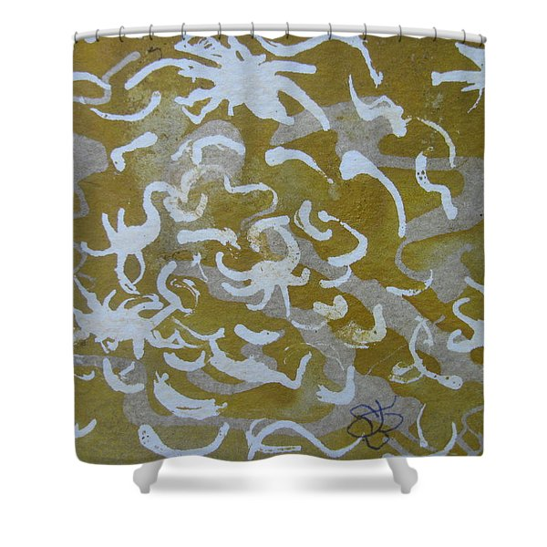 Dull Yellow With Masking Fluid Shower Curtain