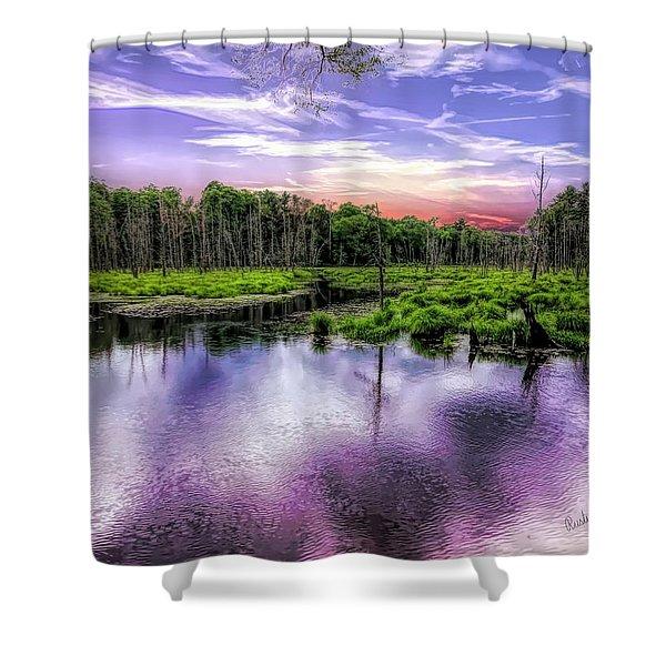 Dusk Falls Over New England Beaver Pond. Shower Curtain
