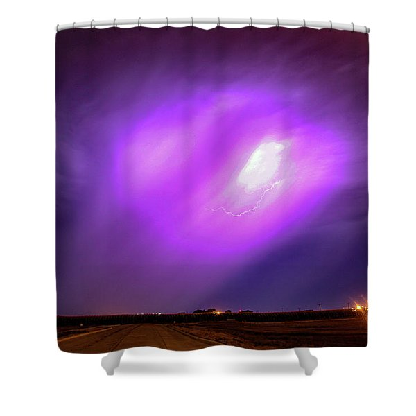 Shower Curtain featuring the photograph Dying Late Night Supercell 016 by NebraskaSC