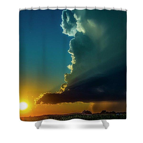 Dying Nebraska Thunderstorms At Sunset 068 Shower Curtain