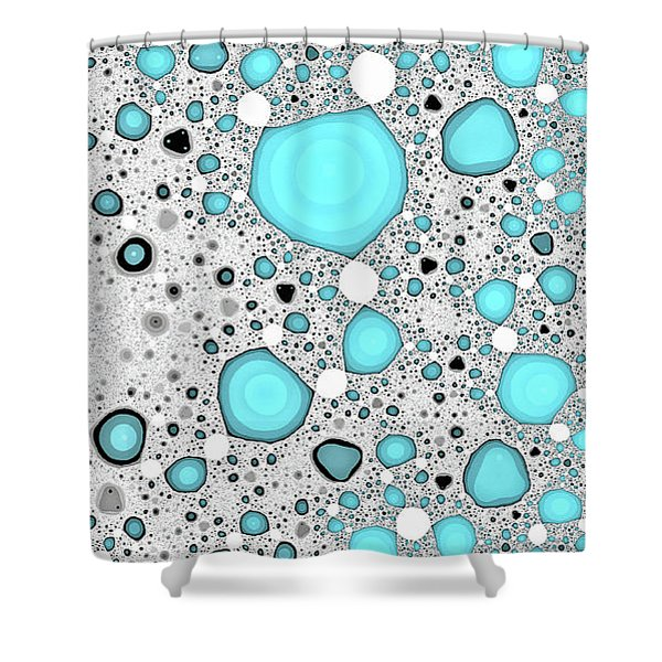 Dynamic Moonscape Blue Abstract Art Shower Curtain