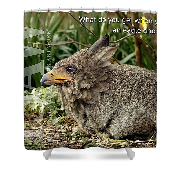 Shower Curtain featuring the digital art Eaglabbit by ISAW Company