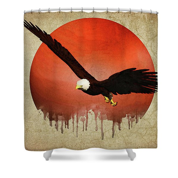 Shower Curtain featuring the digital art Eagle Flying by Jan Keteleer
