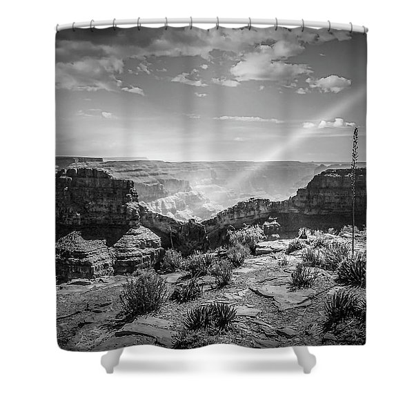 Eagle Rock, Grand Canyon In Black And White Shower Curtain