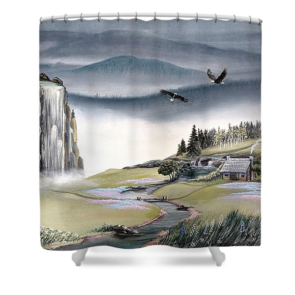 Shower Curtain featuring the painting Eagle View by Deleas Kilgore