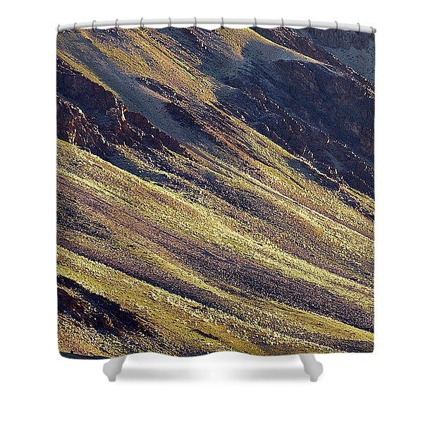 Shower Curtain featuring the photograph Early Morning Light On The Hillside In Sarchu by Whitney Goodey