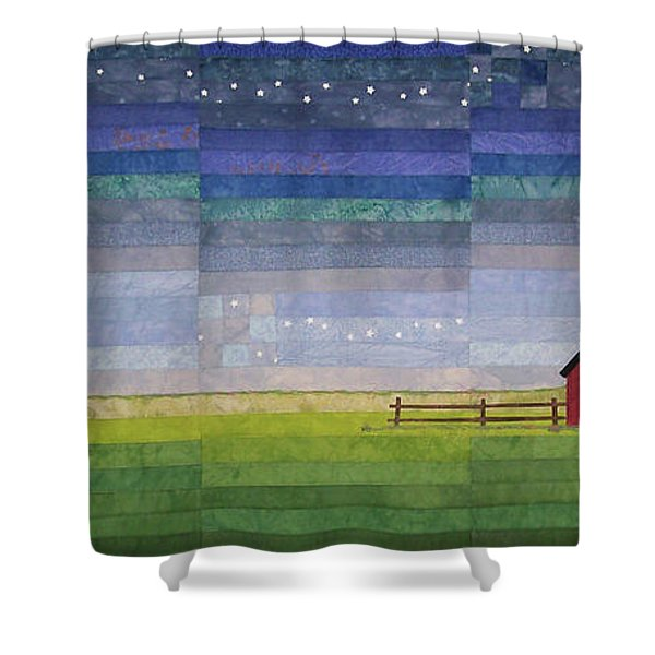 Early Morning Nine Patch Shower Curtain