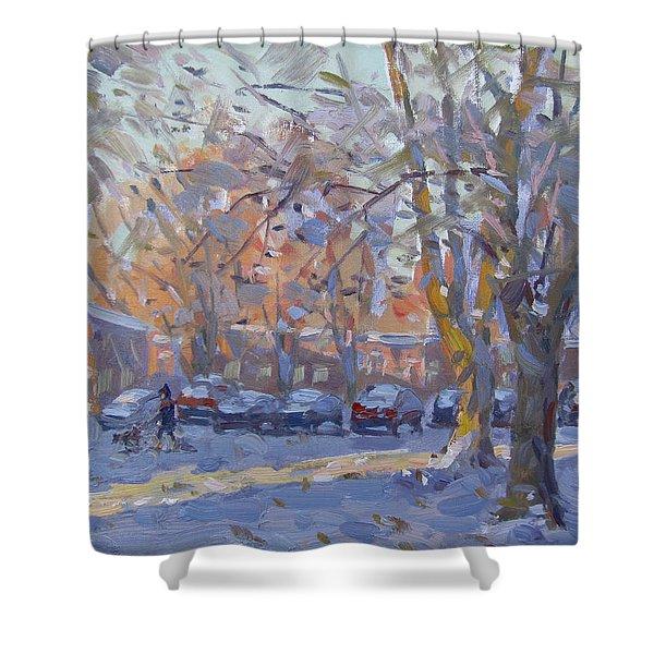 Early Morning Winter Scene Shower Curtain