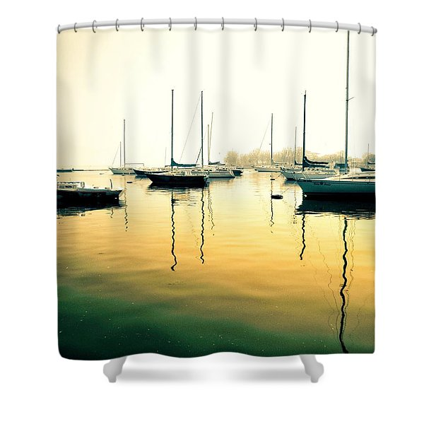 Early Mornings At The Harbour Shower Curtain